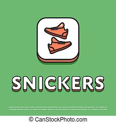Snickers icon with sport shoes - Snickers colour square icon...