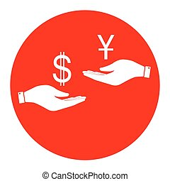 Currency exchange from hand to hand. Dollar and Yuan....
