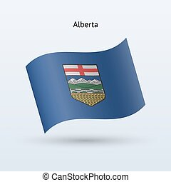 Canadian province of Alberta flag waving form. Vector...