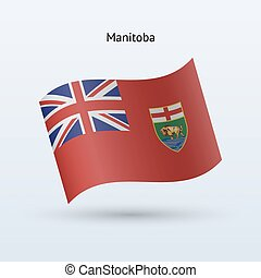 Canadian province of Manitoba flag waving form. Vector...