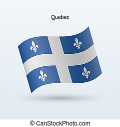 Canadian province of Quebec flag waving form. - Canadian...
