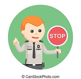 security officer with stop sign in circle background