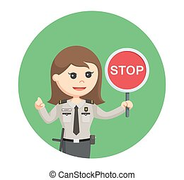 security officer woman with stop sign in circle background