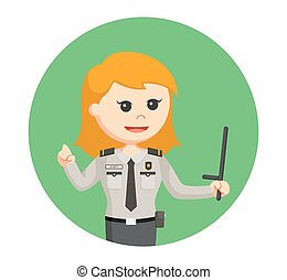 security officer woman with baton stick in circle background
