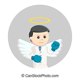 angel businessman boxing in circle background