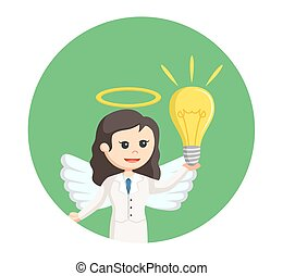 angel businesswoman with idea in circle background