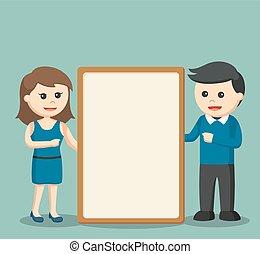 couple holding giant whiteboard
