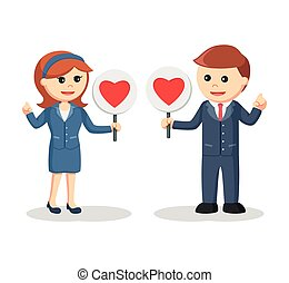 business couple with love sign