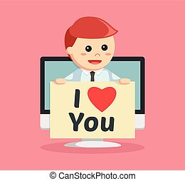 businessman with love message pc pop up