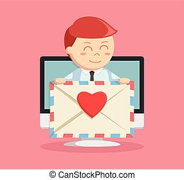 businessman with love email pc pop up