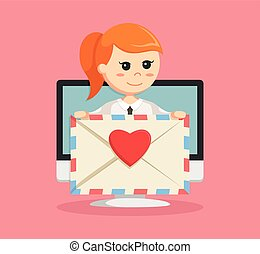 businesswoman with love email pc pop up