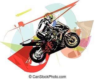 Extreme abstract motocross racer by motorcycle - Extreme...