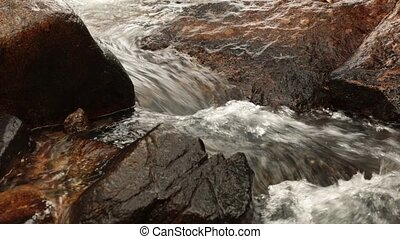 Mountain Stream Scene - A mountain river waterfall closeup...