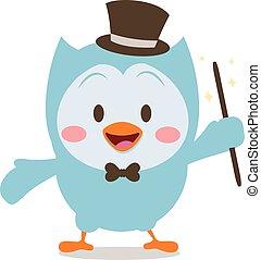 Magician owl mascot collection stock vector art
