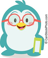 Penguin with book character vector collection stock