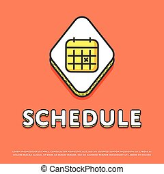 Schedule colour icon with calendar sign