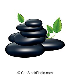 spa volcanic rocks with leaves icon, vector illustraction...