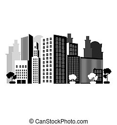 grayscale city with buils icon, vector illustraction design