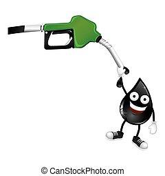 green nozzle with dark gray drop icon, vector illustraction...