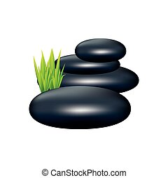 color spa volcanic rocks with grass icon, vector...