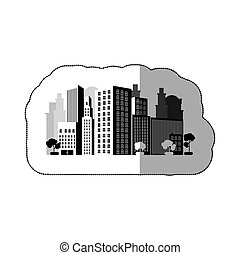 contour city with buils icon, vector illustraction design