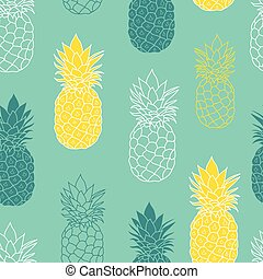 Fresh Blue Green Yellow Pineapples Vector Repeat Seamless...