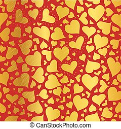Vector Golden Red Hearts Seamless Pattern Design Perfect for...