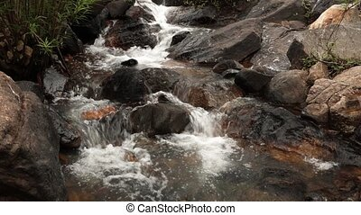Mountain River Waterfall - A mountain waterfall scene with...