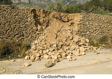 Crumbled contention wall - Destroyed masonry contention wall...