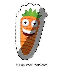 kawaii, feliz, zanahoria, colorido, icono