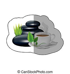 spa volcanic rocks with leaves and coffee cup, vector...