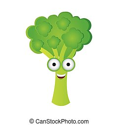 color kawaii happy broccoli icon