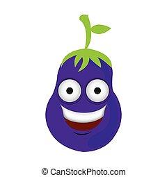 color kawaii happy eggplant icon, vector illustraction...