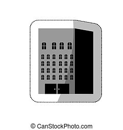 grayscale build of city icon, vector illustraction design...