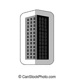 grayscale long build of city icon, vector illustraction...