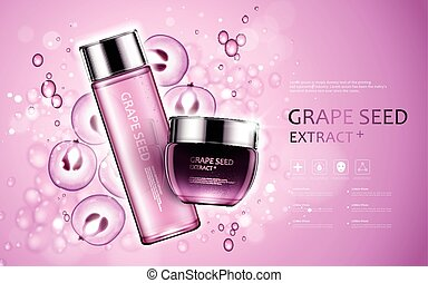 Grape seed extract, cosmetic ads with grape seed and bubbles...