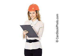 Woman engineer in a helmet with a folder in his hands