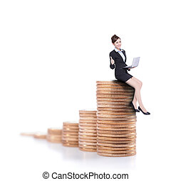 businesswoman sit on money - business woman sit on money...