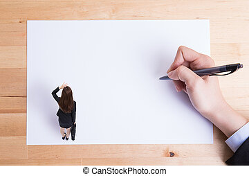 woman stand on paper - business woman stand on paper and...