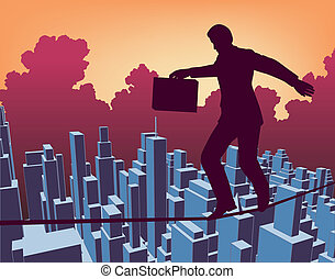 Tightrope - Editable vector outline of a businessman walking...