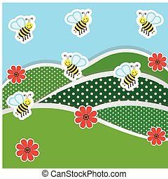 mountains with flowers and bees icon, vector illustraction...