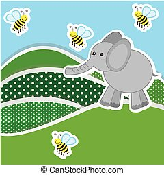 color mountains with bees and elephant icon, vector...