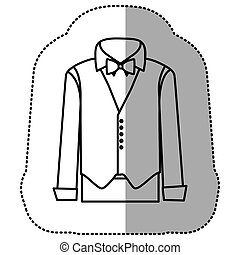 contour sticker suit with shirt, waistcoat and pants, vector...