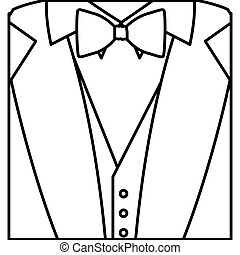 figure sticker suit with bow tie icon