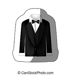 color sticker shirt with bow tie and coat icon