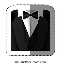 color sticker suit with bow tie icon