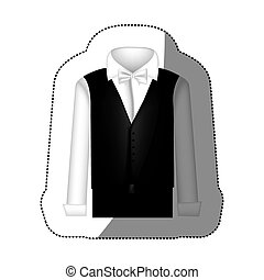 color sticker suit with shirt, waistcoat and pants, vector...
