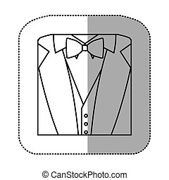 contour sticker suit with bow tie icon