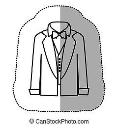 contour sticker shirt with bow tie and coat icon