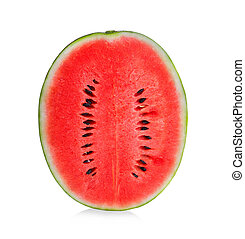 Watermelon half vertically isolated on white background